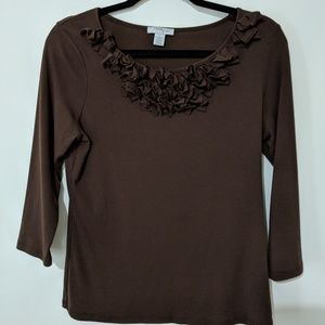 Mercer Street Brown 3/4 sleeve Ruffle Tee Large